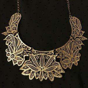 H&M goldtone filigree statement bib necklace